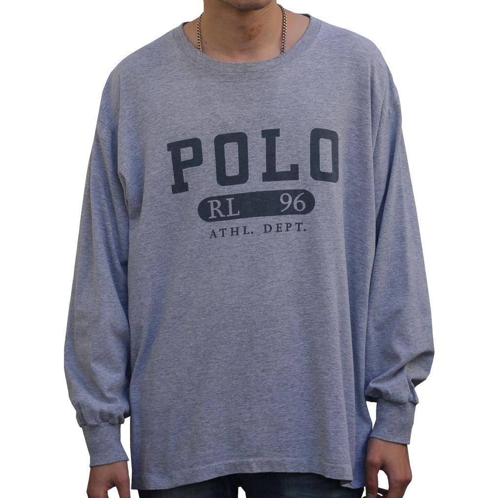Vintage Polo Ralph Lauren RL 96 Grey Long Sleeve Shirt (Size L)