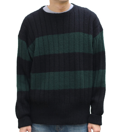Vintage Polo Ralph Lauren Green Black Striped Sweater Size L Roots