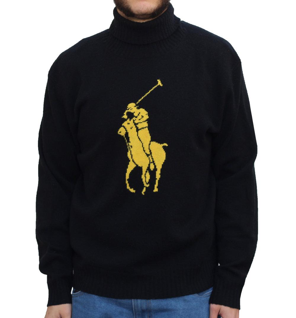 Vintage Polo Ralph Lauren Big Pony Black / Yellow Turtleneck Sweater (Size  XL) NWT