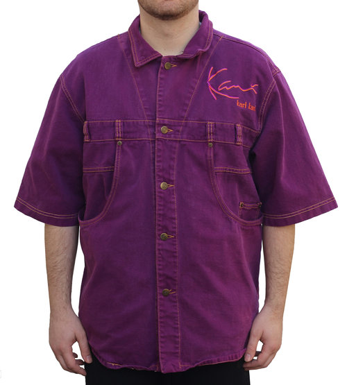 Top Vintage Karl Kani Purple Denim Button Down Shirt (Size XL) — Roots PE83