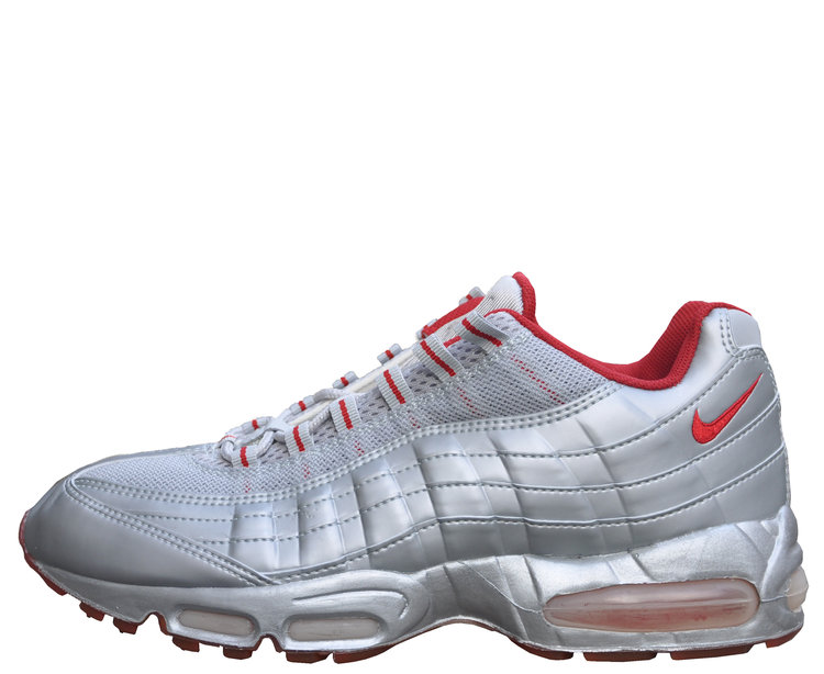 65b49e094300b1 Silver Trainers Nike Air Max 95 Neutral Grey Varsity Red (Size 10.5 ...