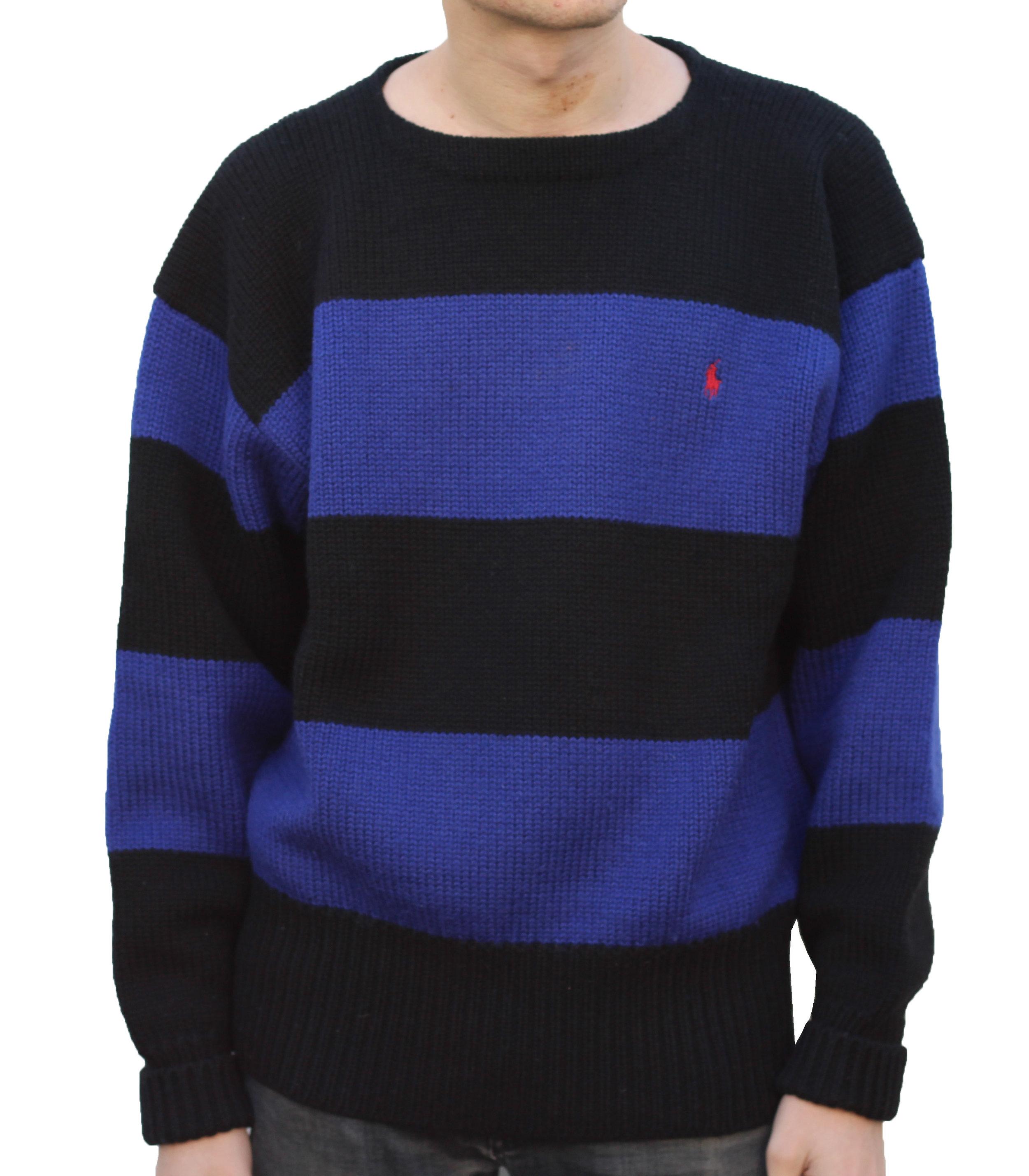 Vintage Polo Ralph Lauren Blue / Black Striped Wool Sweater (Size L)