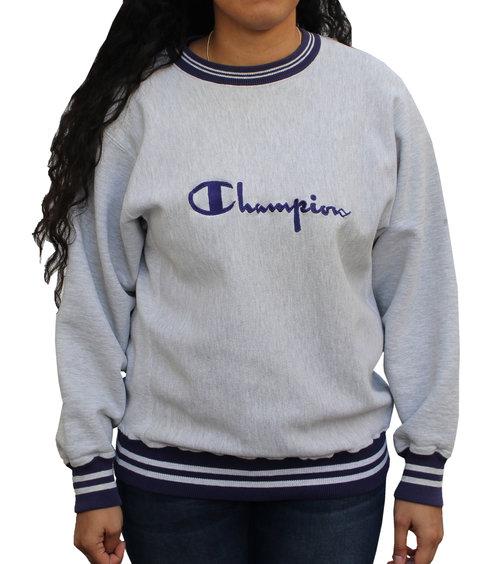 Vintage Champion Reverse Weave Grey   Navy Sweatshirt — Roots 1078dc4deb