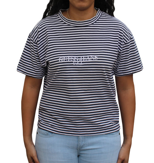 489026b006 Vintage Guess Jeans USA White / Navy Striped T Shirt (Size Women`s M ...