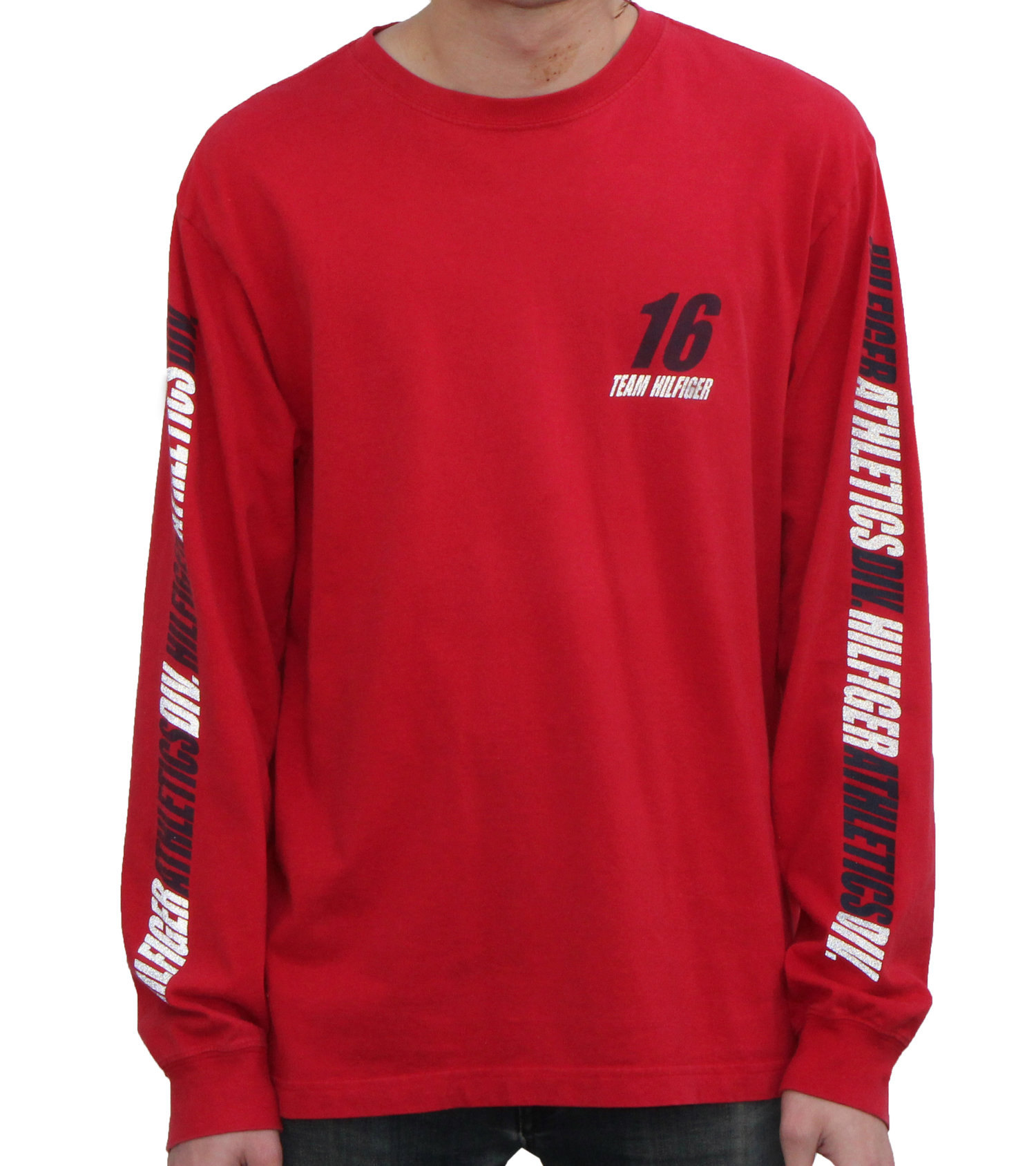 8e929c54 Vintage Tommy Hilfiger Athletics Div Red / Black / 3M Long Sleeve Shirt  (Size M) — Roots