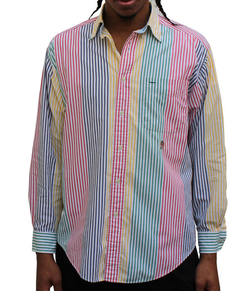 a3b0320a Vintage Tommy Hilfiger Colorful Striped Button Down Shirt (Size S ...