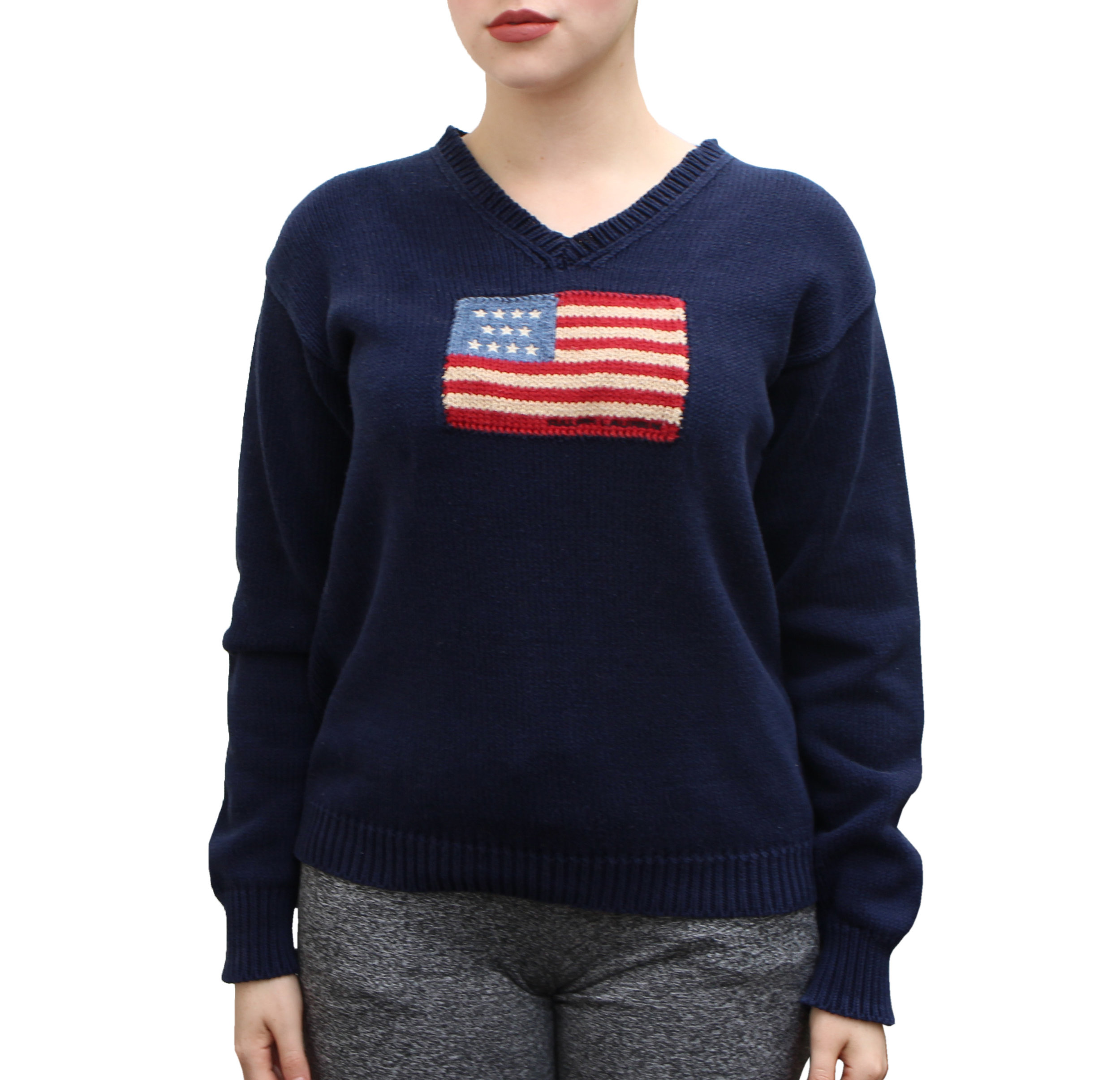 Vintage Polo Sport Ralph Lauren USA Flag Sweater (Size Women`s M)