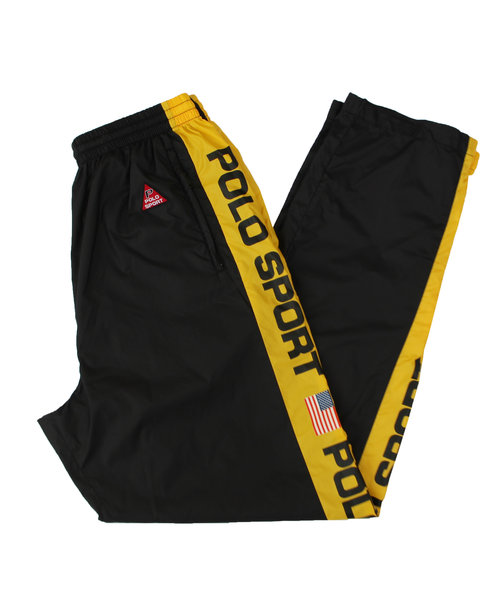 b19be6b1f Vintage 90s Polo Sport Ralph Lauren Black and yellow spell out windbreaker  pants