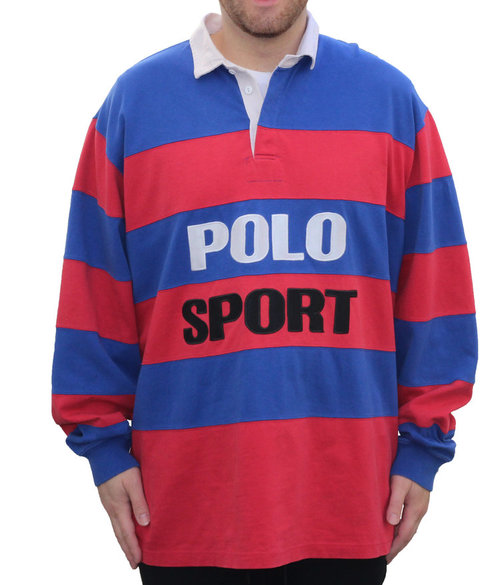 4bdb89d63 Vintage Polo Sport Ralph Lauren Red   Blue Striped Rugby (Size L ...