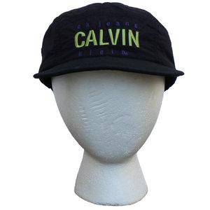 aaa0208be34 Vintage 90s Calvin Klein CK Jeans black nylon with fleece lining 5 panel hat