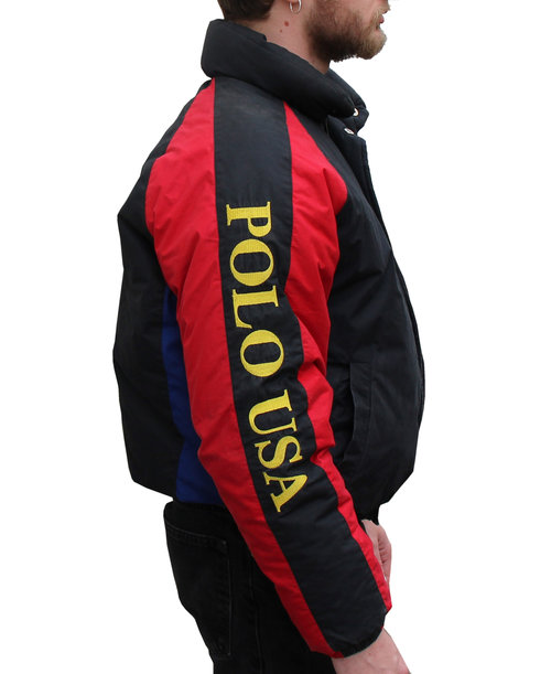Vintage Polo USA Black and red ski jacket d5d0499dca166