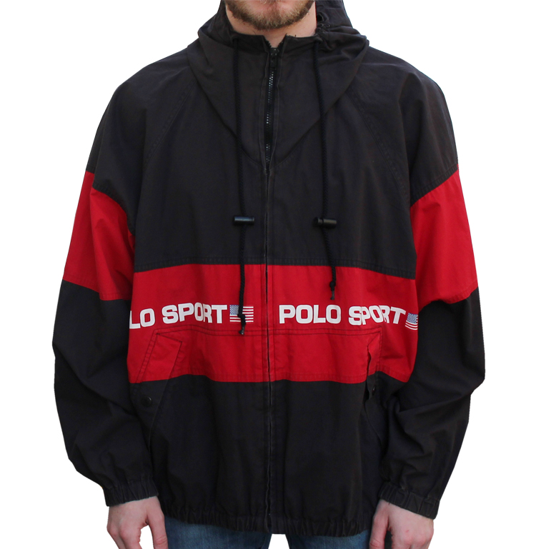 78840f767 ... italy vintage polo sport ralph lauren spell out black red jacket size l  0687d ac069