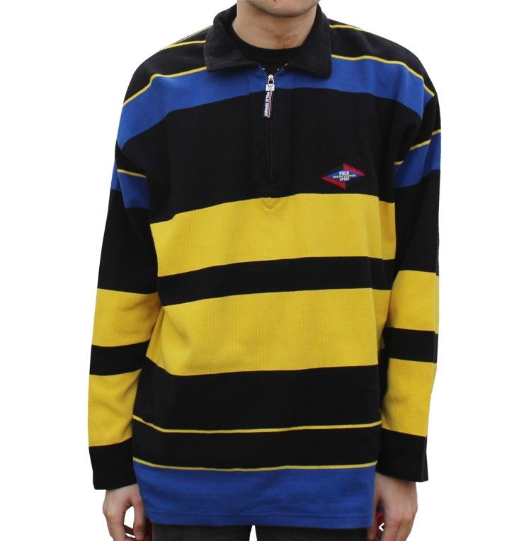 bb8a40614 Vintage Polo Sport Ralph Lauren Colorful Striped 1 4 Zip Shirt (Size ...