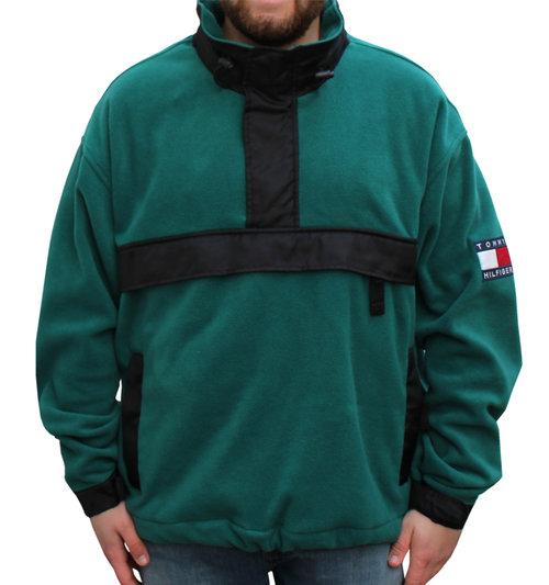 a008f588b674b Vintage Tommy Hilfiger Green   Black Fleece Jacket (Size XL)