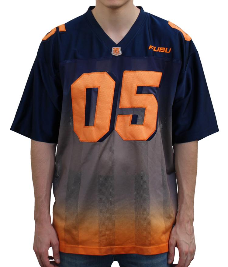 Vintage FUBU Sports Navy/Grey/Orange Gradient Football Jersey ...
