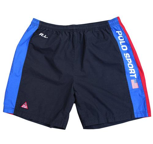 4213d2326a Vintage Polo Sport Black/Red/Blue Paneled Shorts (Size XL)