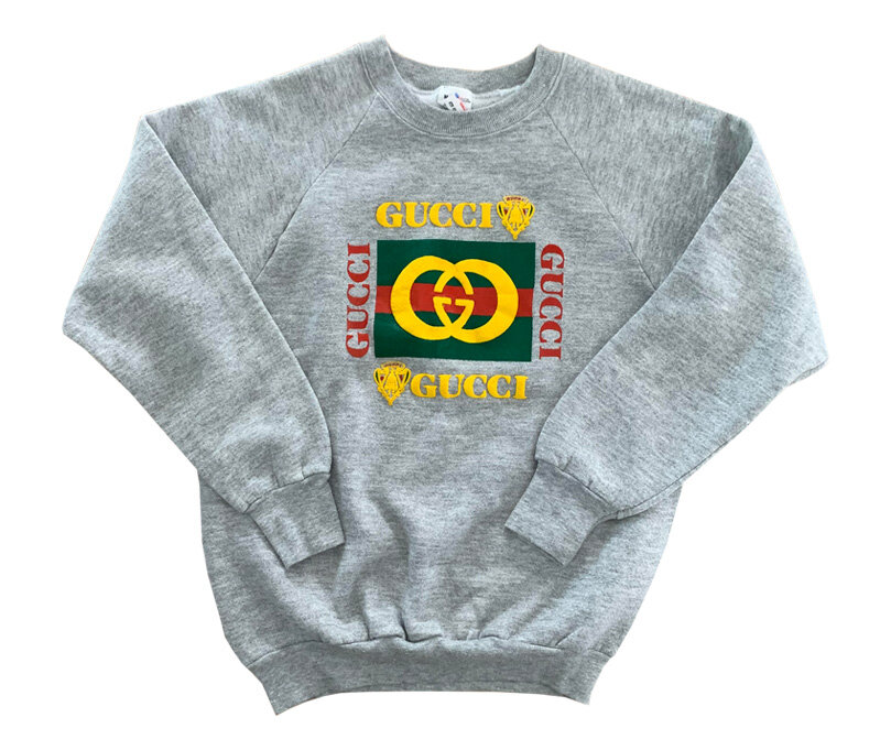 686cdc4c19be7 Vintage Bootleg Gucci Heather Grey Sweatshirt (Size Youth M) — Roots