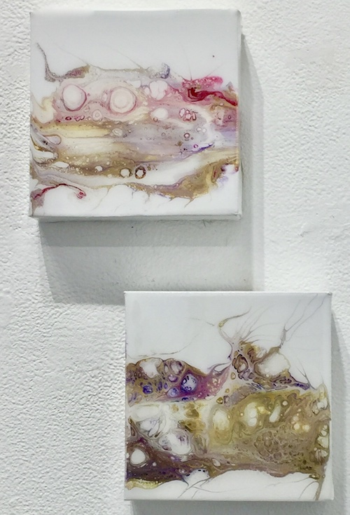 "Thing One and Thing Two , 2018  Acrylic on Canvas with Resin Top Coat, Diptych, 6"" x 6"" each  $110"