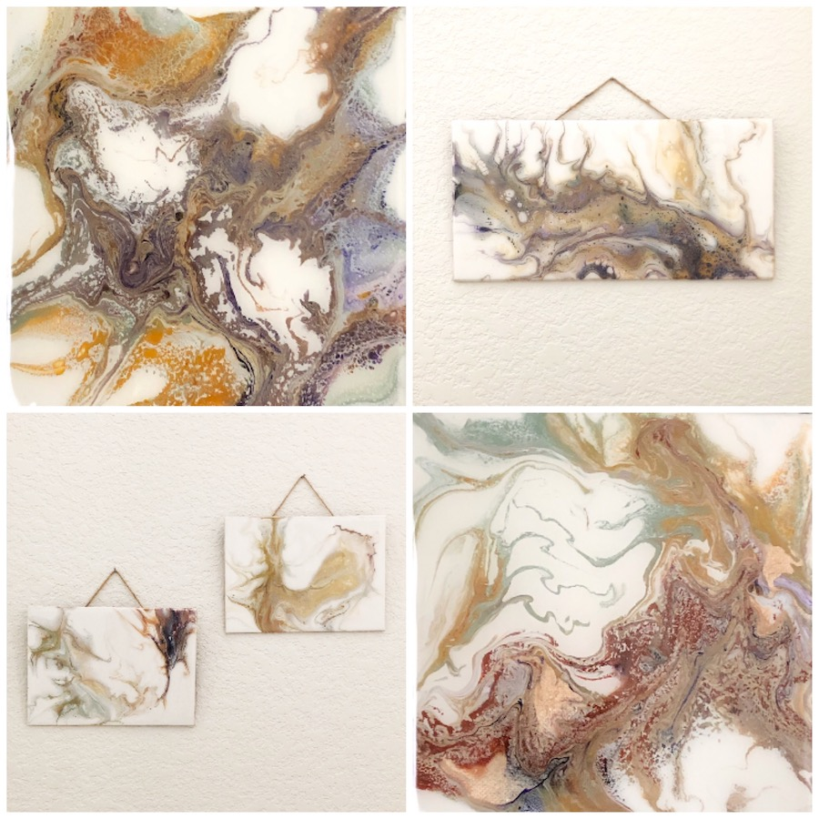 "Top Left: Agate I, 6""x6"" $50 on canvas  Top Right: TBD, 12"" x 6"" $40 on masonite  Bottom Left: Ink Blot and Bivalve, both 4""x6"" $35 each on masonite  Bottom Right: Agate II, 6""x""6 $50 on canvas"