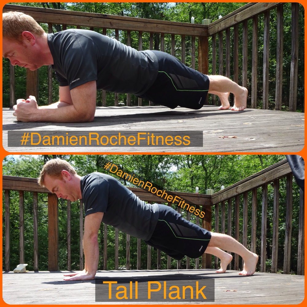 Max forearm plank, 90 sec rest, max tall plank.