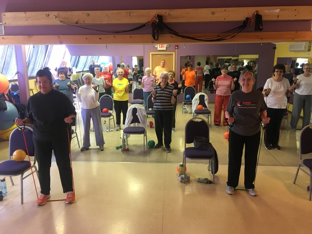 An inspiring and fun group at Wednesday morning  SilverSneakers ® class.
