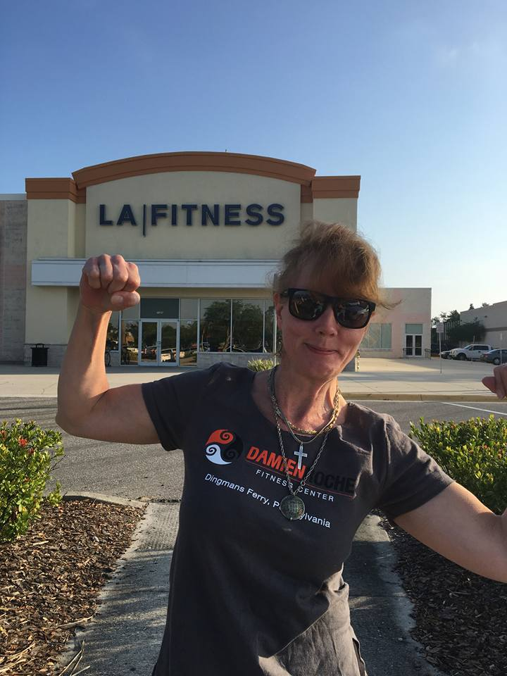 Leonora showing them how its done at LA Fitness in Florida.