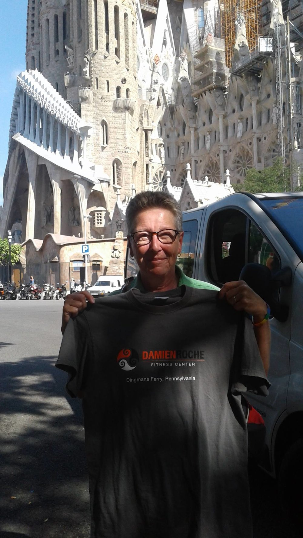 Janice, enjoying Barcelona's amazing Basílica de la Sagrada Família.