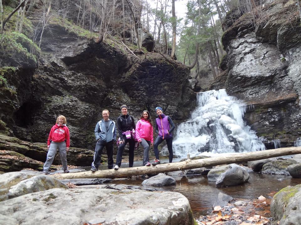 Winter hike to Adams Falls