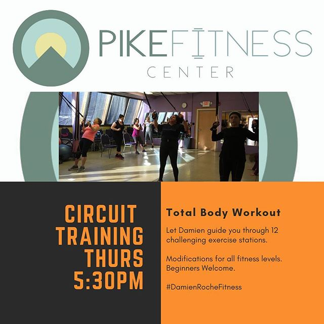 Circuit Training kicks off at 5:30pm tomorrow (Thursday) at Pike Fitness Center.  All fitness levels and ages will find their challenge level here.  Beginners welcome n  Another Burpee Free set up this week!! 💪😉👍 #DamienRocheFitness  #CircuitTraining #ChallengeYourself #Core #DingmansFerry #Strength #Health #Fitness