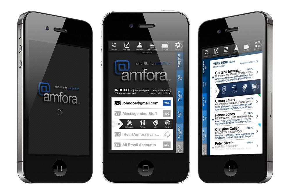 Amfora email prioritization app concept screenshots.