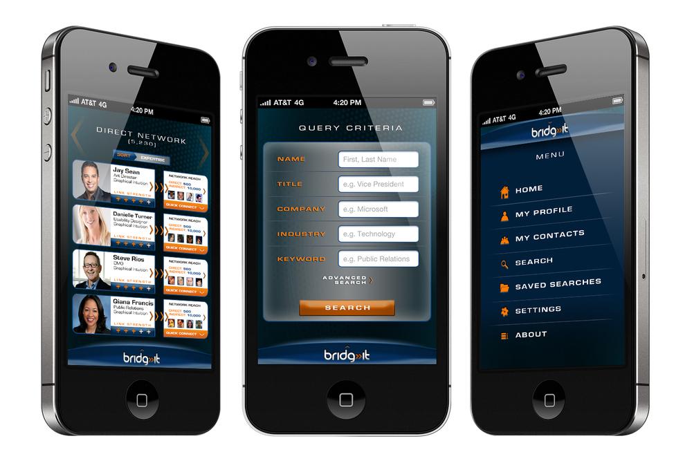 Bridg-It corporate social networking app concept screenshots.