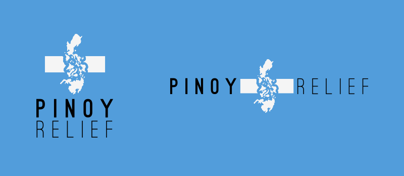 Pinoy Relief logo variations, white/black on blue.