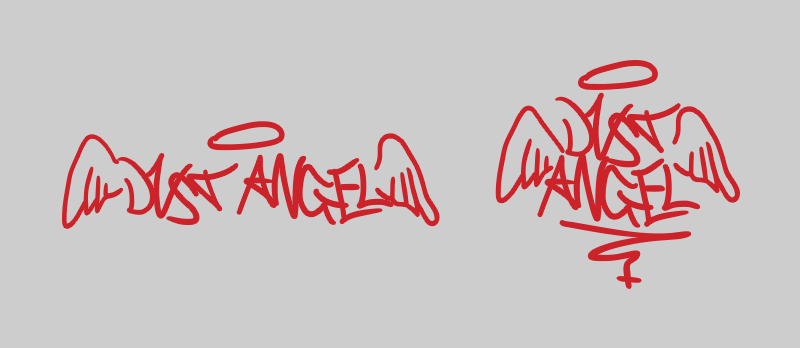 Dust Angel logo variations, red on gray.
