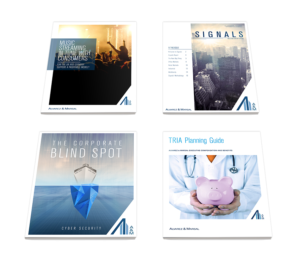 Cover designs for various brochures.