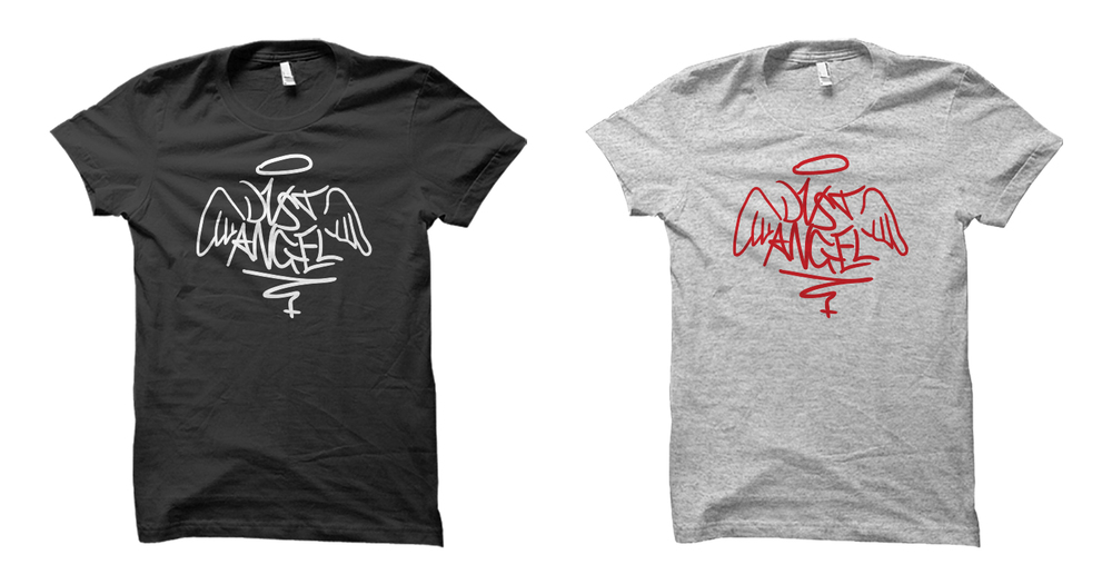 Dust Angel logo shirt design variations.