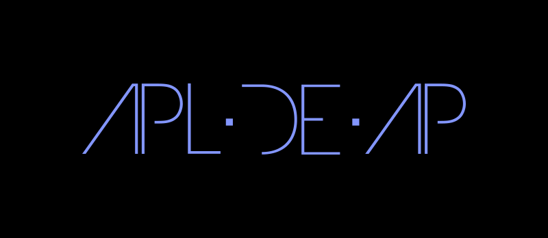 Apl.de.Ap logo, blue on black.