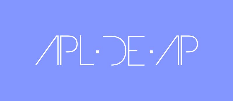 Apl.de.Ap logo, white on blue.