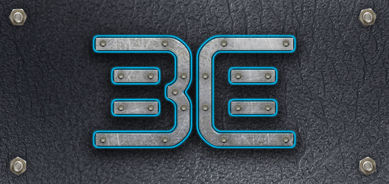 "The ""Be"" logo, metal on leather style."