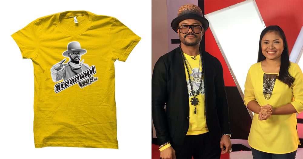 #TeamApl shirt which was given to fans on The Voice of the Philippines. Apl.de.Ap is rocking his shirt, as well as a Apl-branded baller-band, alongside The Voice finalist Alisah Bonaobra.