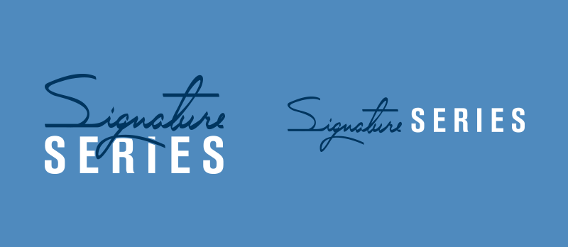 Signature Series logo, on blue.