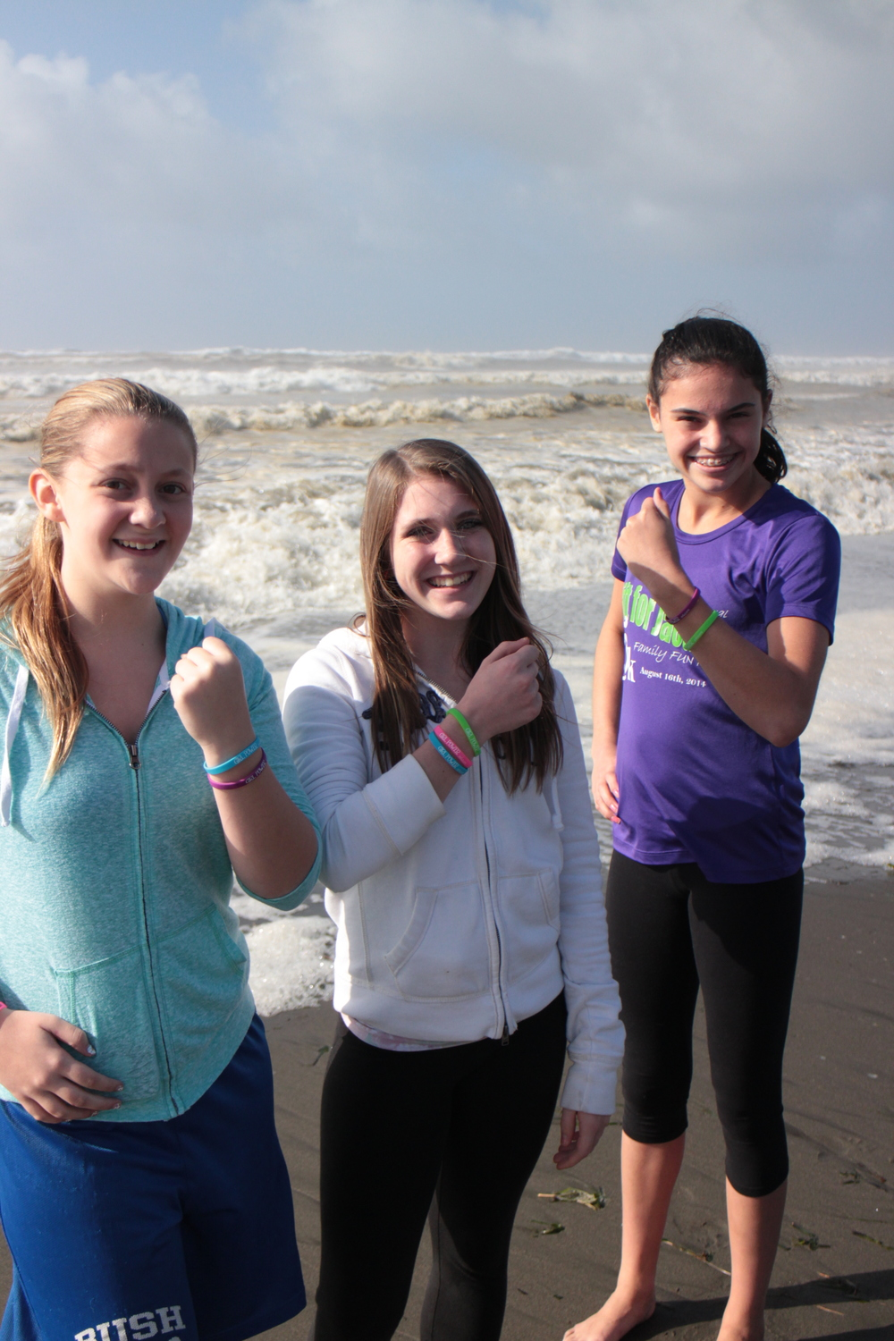 Girls being girls...sporting their Girl Power Bracelets!