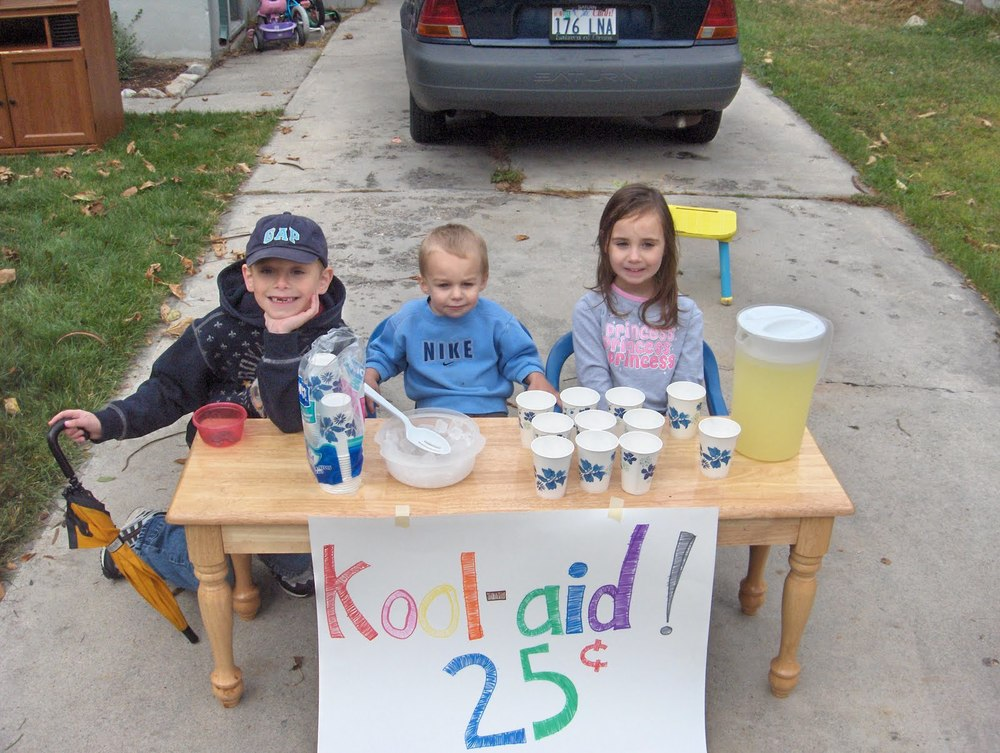 Couldn't find a pic of our Kool-Aid stand, so I found this one online. Hopefully these kids and their parent's won't mind me borrowing their image .