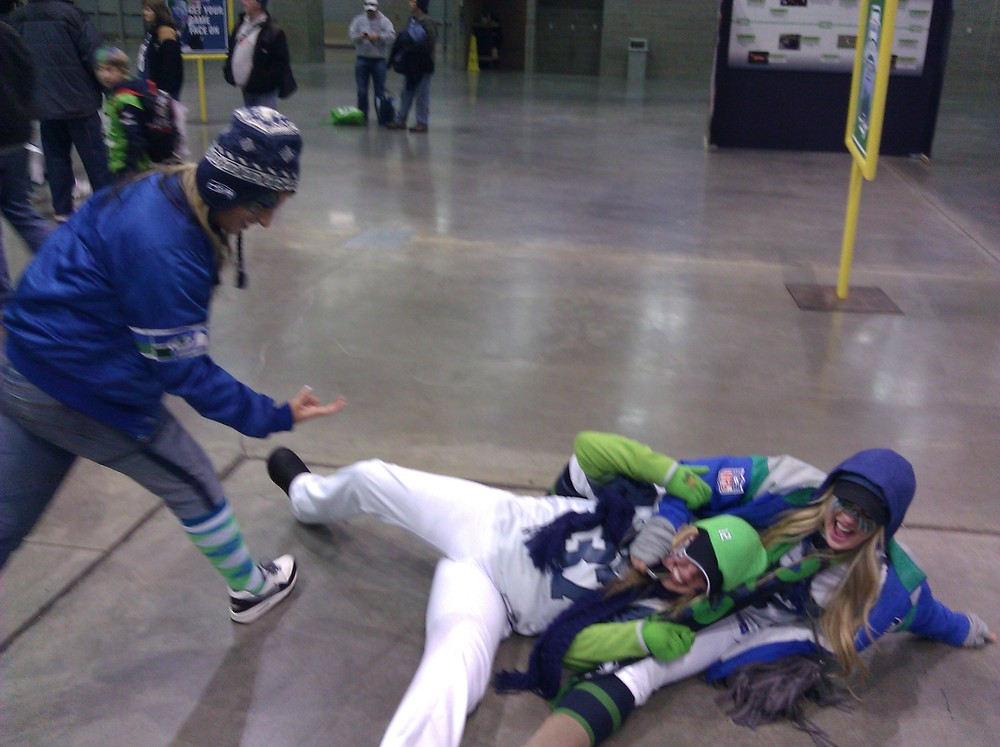 So this picture right here is totally a #waybackwednesday but surprising and thank my lucky stars I actually don't have a ton of pictures of me falling down. What worries me is who else might...yikes. oh and Go SEAHAWKS
