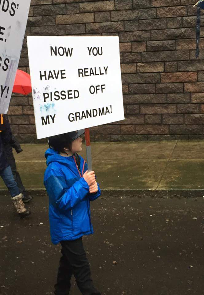 I found this photo on the Women's March on Portland Facebook Site, submitted by a Daniel H. Maher and couldn't NOT share it. This is the kind of expression of anger that can only make you smile. Love that this kid is standing #withher and that the her in the situation is his Grandma. LOVE