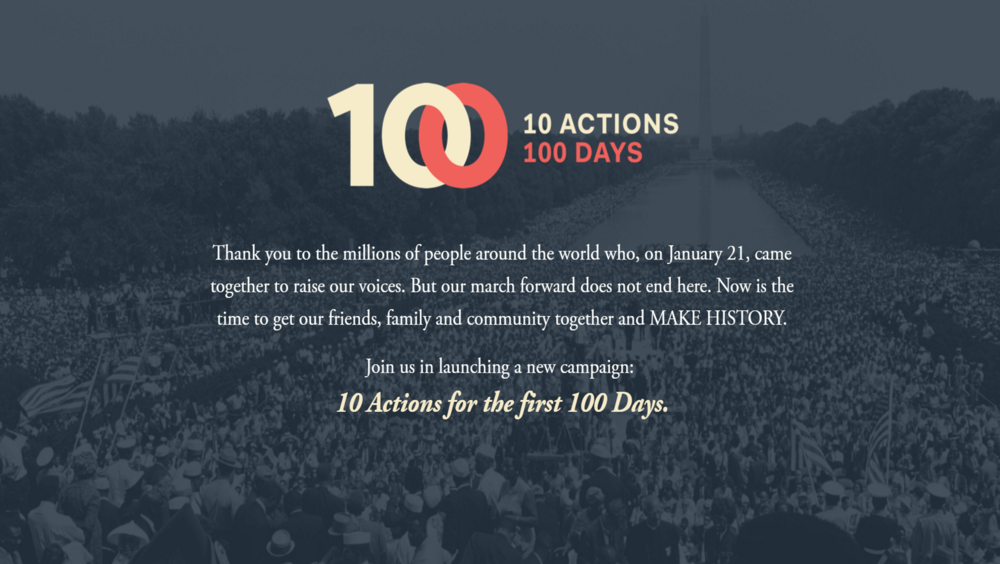 10 Things in 100 Days, let's continue to make history and speak up and out to make our voices heard.