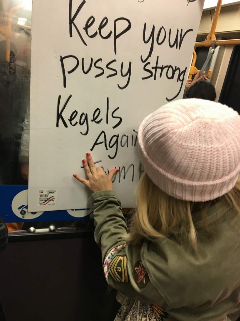 I know the language on my sign is strong. But I was just using the words that the President elect used when he objectified women and verbalized the value he saw in them. I chose the language on purpose. The goal of my sign was not to offend but rather to say that if we are to be strong women with a voice and view point we must exercise. Exercise our right to use our voice and have an opinion and speak up for it. (photo is mine)