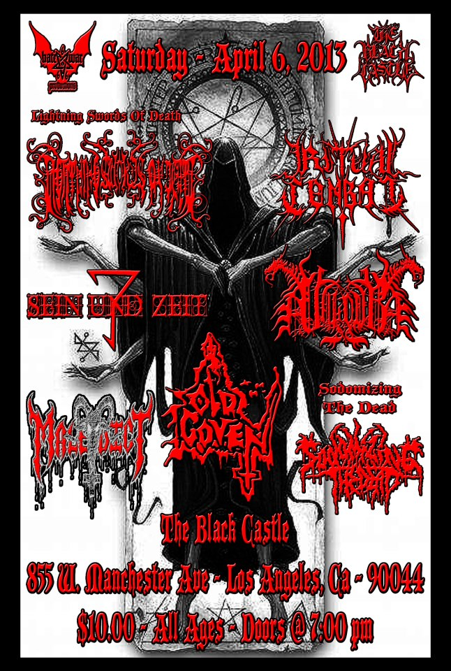 Lightning Swords of Death LIVE at the infamous Black Castle this Saturday!    Since the release of  Baphometic Chaosium , L.S.O.D. have quickly become one of the most talked about black metal bands in America and abroad. Good time to check them out before they hit the road with Melachesh in June.