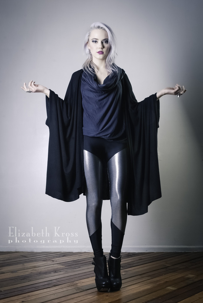 Swathe Cape ($100), Metallica Silver Leggings ($65)