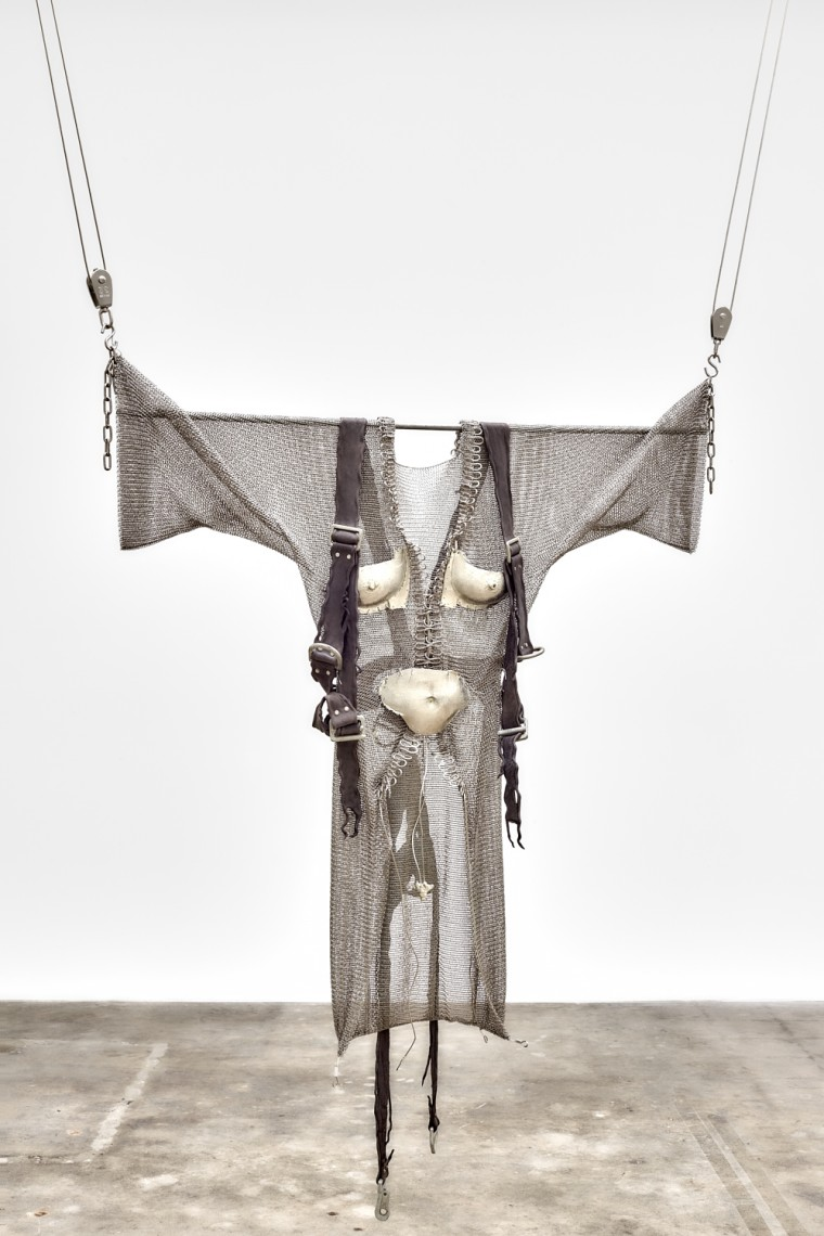 Elaine Cameron-Weir, dressing for altitude, 2017, Pewter, stainless steel, leather, sandbags, 44.5 x 8 x 60.5 inches (113 x 20.3 x 153.7 cm) (height variable)