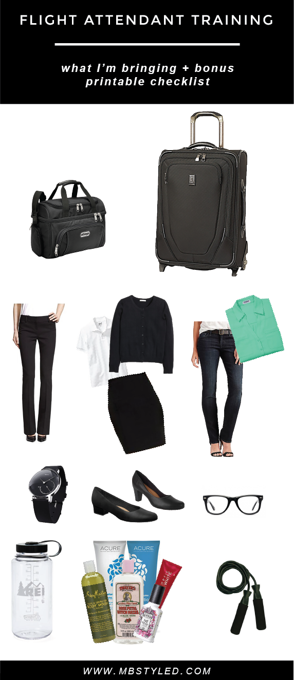 Flight Attendant Training: What I'm Bringing + Printable Checklist from MBSTYLED.COM